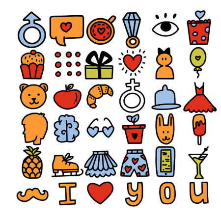 Set of romantic vector icon in doodle design. Valentine's day and Love symbols and illustrations. For cards, web or print banners, flyers, holiday greetings