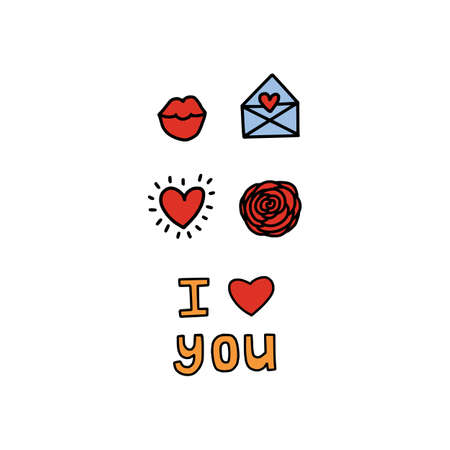 Creative man symbol on white background for Happy Valentine's Day celebration. Greeting card I Love You. Hand drawn, doodle styled. Heart, kisses lips, buble and envelope. With Love lettering