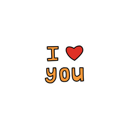 I Love You hand written doodle styled symbol. Vector illustration.