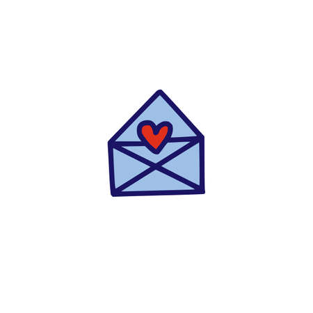 Mail doodle icon with heart shape. Vector illustrtaion. Symbol of Love.
