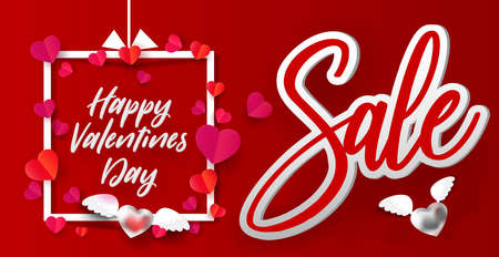 Happy Valentines day Sale banner, Illustration of love , Hearts flying out of frame, paper art cut out style. Vector illustration. Retro design