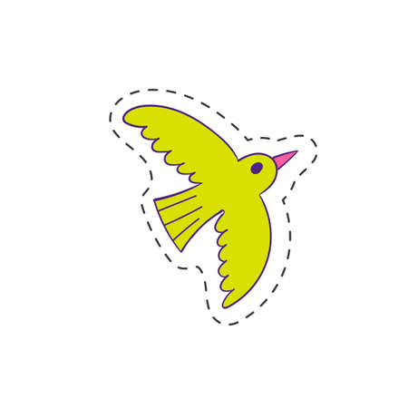 Flying bird doodle icon. Vector illustration. Cute character symbol.