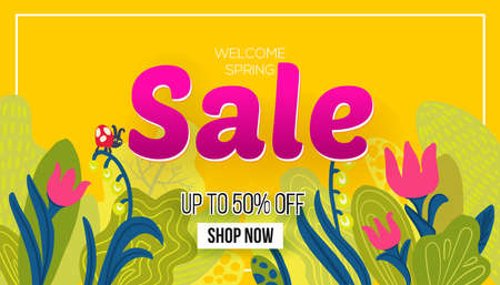 Welcome to Spring sale poster, vector illustration. hand drawn leaves and season flowers and paper art cut out text business offer on bright yellow background. For banner, flyer, web sites
