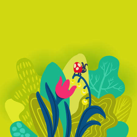 Hello Spring poster template, vector illustration. Hand drawn leaves and season flowers on bright green background. For banner, flyer, web sites