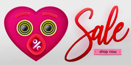 Valentine's day Sale concept banner. Vector illustration. Pink heart paper art cut out face with eyes and open mouth. Creative discount design. Percent symbol in mouth. Banque d'images - 125326389