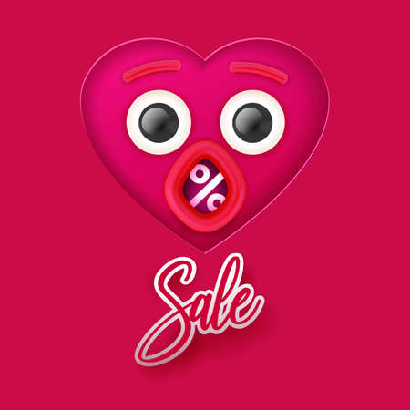Valentine's day Sale concept banner. Vector illustration. Pink heart paper art cut out face with eyes and open mouth. Creative discount design. Percent symbol in mouth. Banque d'images - 125326390
