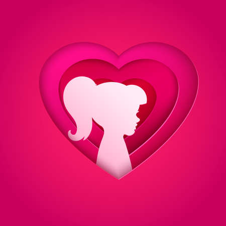 Female silhouette in layered heart