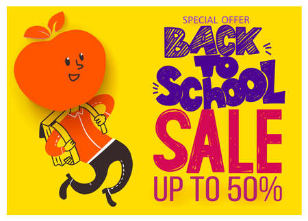 Back to school Sale banner. Apple symbol of education is had of schoolboy hy run with satchel.