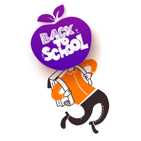Back to school. Apple symbol of education is had of schoolboy hy run with satchel. Vector doodle illustration with hand lettered sketch style text greetings.