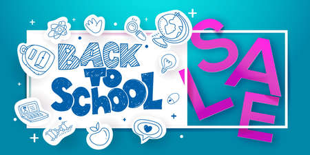 Back to school sketch lettering and paper art cut out Sale offer on blue banner background. For business banners, posters, flyers. Craft retro style. Paper icons with doodle symbols of education.