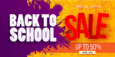 Back to school Sale Horizontal banner with hand drawn Education doodles pattern. School ideas and symbols background. Vector illustration. Discount offer