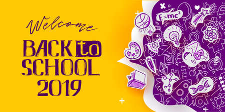 Back to School banner with line art icons of education, science objects on paper art cut out icons. Vector hand drawn doodle style illustration. hand lettering symbol of education