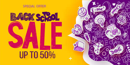 Back to School Sale banner with line art symbols of education, science objects on paper art cut out icons. Vector hand drawn doodle illustration. Hand lettering and ink drawings Vettoriali