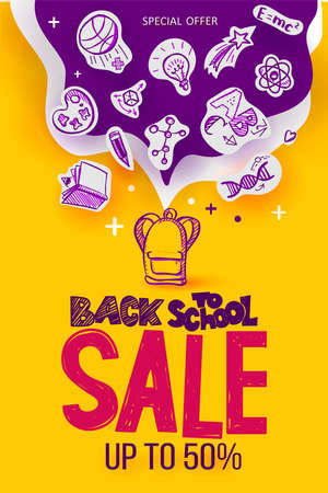 Back to School Sale poster with line art symbols of education, science objects on paper art cut out icons. Vector hand drawn doodle illustration. Hand lettering and ink drawings