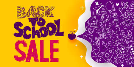 Back to School Sale sketch style banner with line art symbols of education, science objects icons. Vector hand drawn doodle illustration. Hand lettering and ink drawings