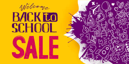 Back to School Sale sketch style banner with line art symbols of education, science objects icons on splash ink blob. Vector hand drawn doodle illustration. Hand lettering and ink drawings