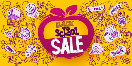 Back to School Sale Apple symbol. Sketch style banner with line symbols of education, science icons. Vector hand drawn doodle illustration. Hand lettering and ink drawings. Paper art cut out elements