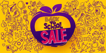 Back to School Sale Apple symbol. Sketch style banner with line art symbols of education, science objects icons. Vector hand drawn doodle illustration. Hand lettering and ink drawings