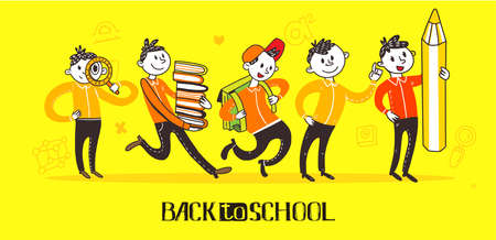 Teenager school boys set wearing casual slim fit dressing, walking and running pose, front, rear view, vector flat doodle style character illustration, isolated, yellow background. Education symbols