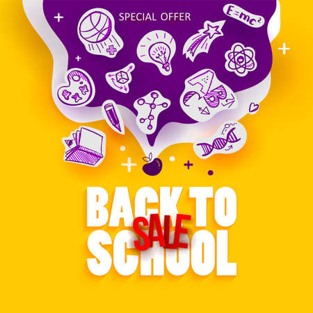 Back to School Sale banner with line art icons of education, science objects on paper art cut out icons. Vector hand drawn doodle style illustration.