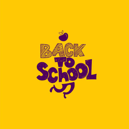 Back to School with apple symbol and running legs. Vector hand drawn doodle illustration. Hand lettering and ink drawings Vettoriali