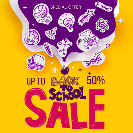 Back to School banner with line art icons of education, science objects on paper art cut out icons. Vector hand drawn doodle illustration. Apple symbol of education hand lettering and ink drawings
