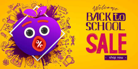 Back to school Sale apple symbol with fun monster face, eyes and mouth, hand drawn doodle icons and lettering on yellow background. Business banner. Paper art cut out craft. Purple, pink color