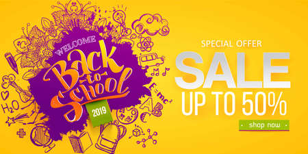 Back to school Horizontal banner with hand drawn Education doodles. Ink splash and paper frame and ink splash background. School ymbols background. Vector illustration