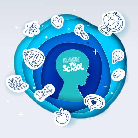 Vector illustration for Back to school. Paper art cut out circle layers with kids head and Back to school hand drawn lettering. Education symbols on paper. Vettoriali