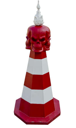 Art skull traffic cone at Wat Rongkhun, Chiangrai, Thailand Stock Photo - 11883552