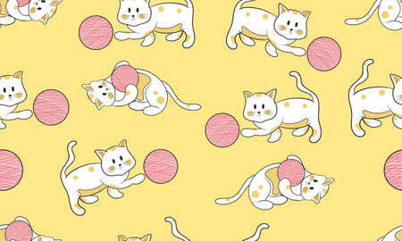 background seamless pattern with funny cats playing ball cartoon style drawing, suitable for fabric,wall, background