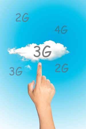 3g: Cloud computing concept. Hand man pressing 3g touchscreen