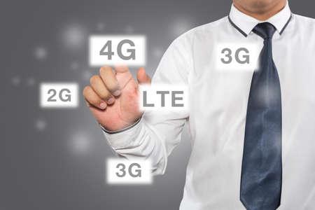 4g: Man pressing 4G touchscreen button