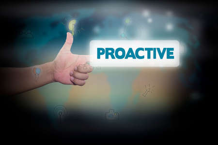 proactive: Businessman pressing button on touch screen interface and select PROACTIVE. Business concept