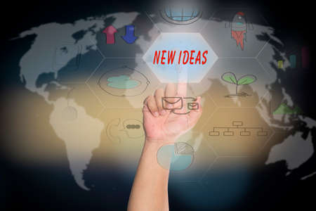 media distribution: pressing touch screen interface and select NEW IDEAS, business concept , business idea