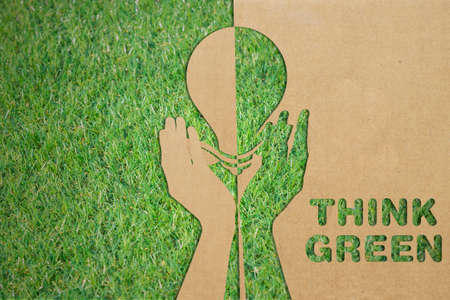 green eco: energy saving concept. Paper cut of energy saving light bulb on green grass, Think green