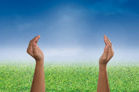 glorify: Two open empty hands & palms up, Pray for support concept. Business, Environment Day,