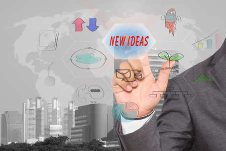 """pressing touch screen interface and select """"NEW IDEAS"""", business concept , business idea"""
