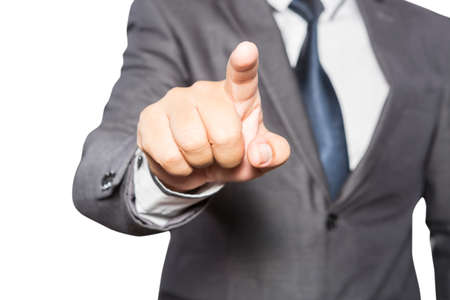 business men: Man hand touching virtual screen isolated on white background
