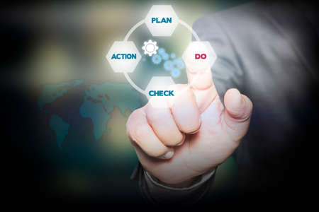 diagrama procesos: Mano presionando el plan - Do - Check - proceso de la acción en la pantalla virtual. concepto de negocio. Foto de archivo