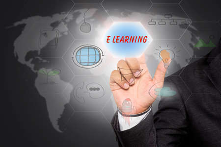 e learning: Businessman pressing button touch screen interface and select E LEARNING, E Learning concept.