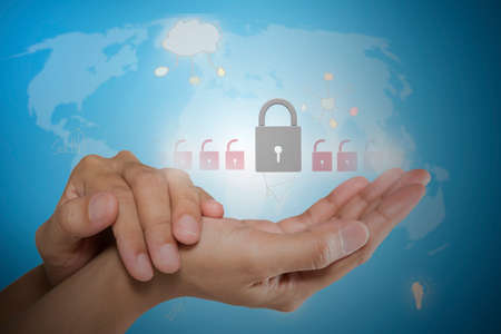 protect: Protect cloud information data concept. Security and safety of cloud computing Stock Photo