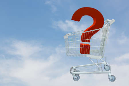 Shopping cart with question on clouds and blue sky