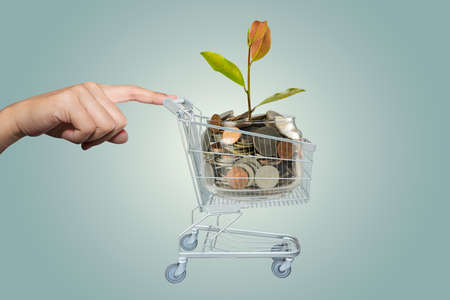 Hand with Shopping cart of money Editorial