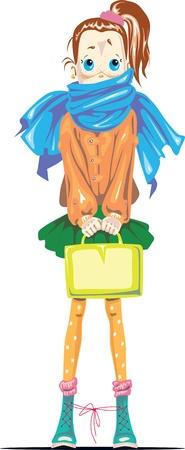 An automn school girl with a scarf Иллюстрация