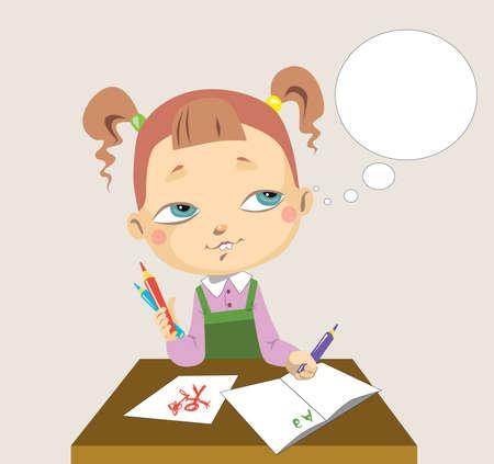 elementary school: Elementary school girl Illustration