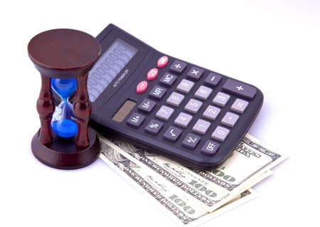 Money, the calculator and hourglass for your website, and all this on a white background