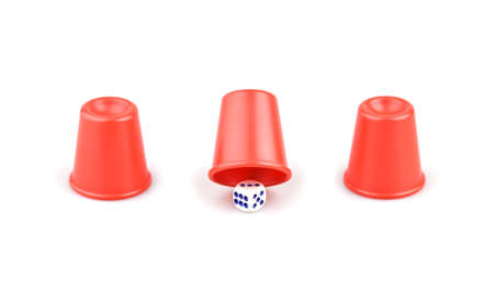 Dice under the cups on a white background, you need to know exactly where the cube