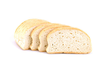Fresh, sliced bread with golden crust on white background
