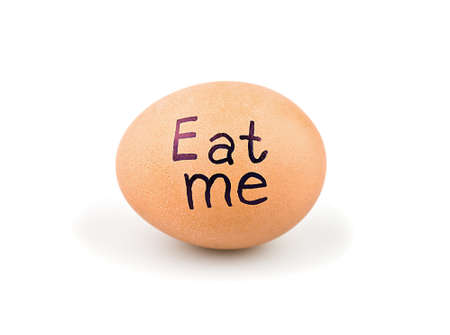 Egg with a slogan on a white background Stock Photo - 17309630